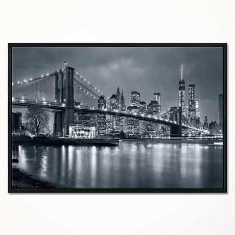 Design Art Panorama New York City at Night Framed Canvas Art Print - image 1 of 1