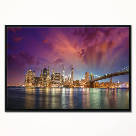 Design Art New York Manhattan Skyline with Clouds Framed Canvas Art Print - image 1 of 1