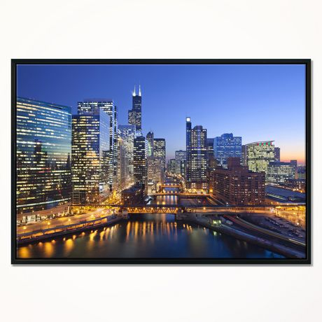 Design Art Chicago River with Bridges at Sunset Framed Canvas Art Print - image 1 of 1