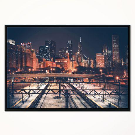 Design Art Dark Chicago Skyline And Railroad Framed Canvas Art Print - image 1 of 1