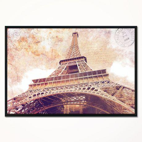 Dyson Design Art Paris Paris Eiffel Towerparis Postcard Design Framed Canvas Art Print - image 1 of 1