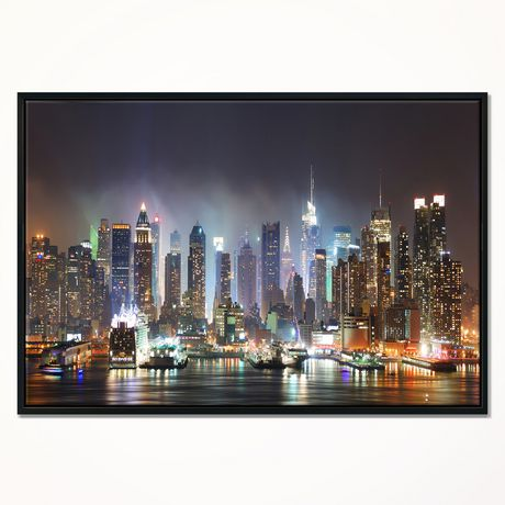 Design Art New York Times Square In Blue Light Framed Canvas Art