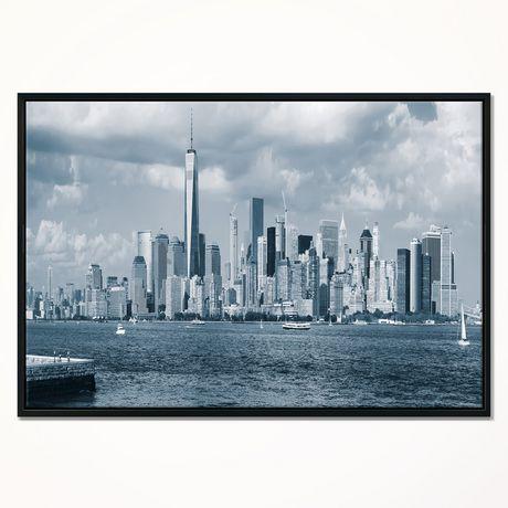 Design Art  Manhattan Panorama Noir Et Blanc  Sur Toile Encadrée - image 1 de 1