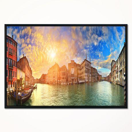 Design Art Grand Canal Venise Panorama  Sur Toile Encadrée - image 1 de 3