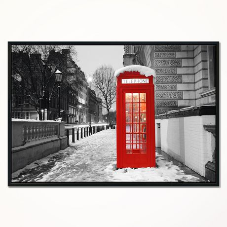 Design Art Red London Telephone Booth Framed Canvas Art Print - image 1 of 3