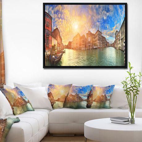 Design Art Grand Canal Venise Panorama  Sur Toile Encadrée - image 2 de 3