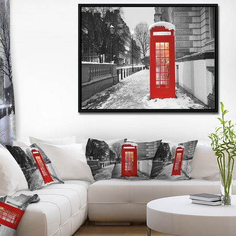 Design Art Red London Telephone Booth Framed Canvas Art Print - image 2 of 3