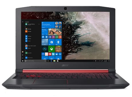 Black ACER Nitro 5 gaming laptop with red accents with display showing start screen