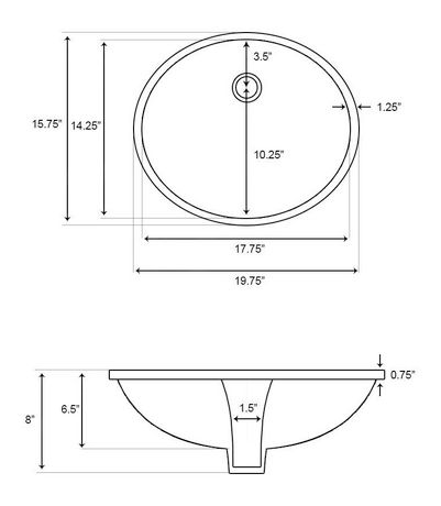 American Imaginations 19.75-in. W Undermount Sink Set Biscuit - image 2 of 6