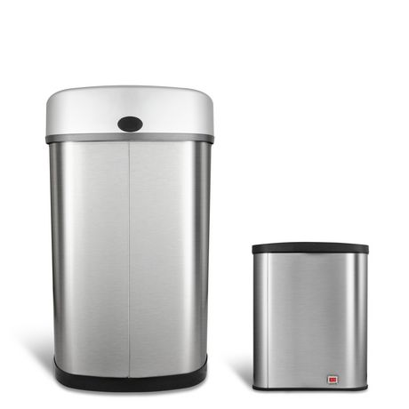 Nine Stars Motion Sensor Touchless 13.2-Gallon and 2.1 Gallon Trash Can Combo - image 4 of 6