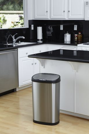 Nine Stars Motion Sensor Oval Touchless 13-Gallon Trash Can - Stainless Steel - image 5 of 6