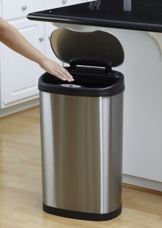 Nine Stars Motion Sensor Oval Touchless 13-Gallon Trash Can - Stainless Steel - image 6 of 6