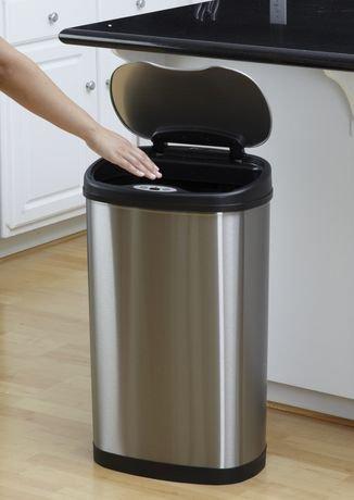 Amazing Nine Stars Motion Sensor Oval Touchless 13 Gallon Trash Can Stainless Steel Elegant - Best of motion sensor kitchen trash can Model