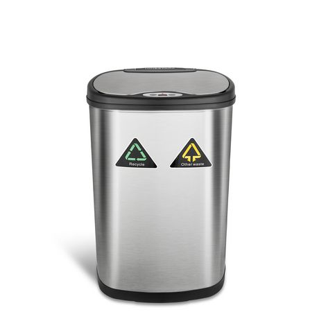 Nine Stars Stainless Silver Motion Sensor Recycle Unit & Trash Can - image 2 of 5
