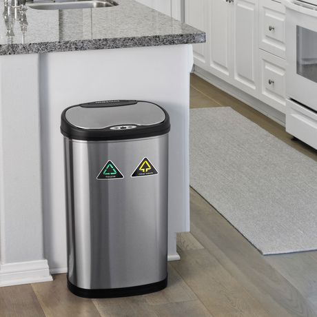 Nine Stars Stainless Silver Motion Sensor Recycle Unit & Trash Can - image 5 of 5