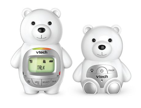 VTech Teddy Bear DM226 DECT 6.0 Digital Audio Baby Monitor with Night Light, 1 Parent Unit, Silver & White - image 1 of 3