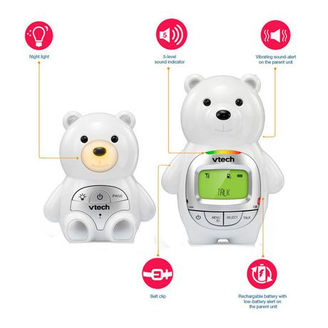 VTech Teddy Bear DM226 DECT 6.0 Digital Audio Baby Monitor with Night Light, 1 Parent Unit, Silver & White - image 2 of 3