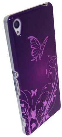Exian Case for Xperia Z3, Butterflies and Flowers - Purple - image 2 of 2