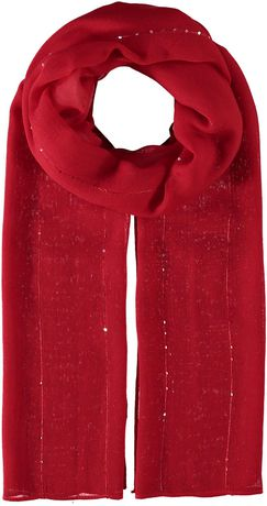 Solid red scarf with decorative sequins, made by V Fraas