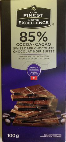 Our Finest 85% Swiss Dark Chocolate bar - image 1 of 2