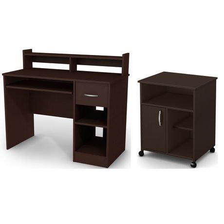 bureau de travail avec support clavier et rangement imprimante smart basics de meubles. Black Bedroom Furniture Sets. Home Design Ideas