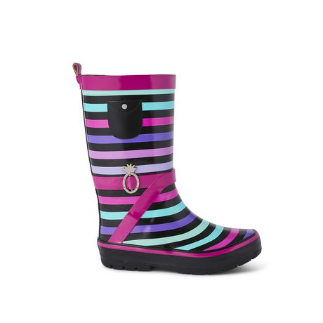 Weather Spirits Girls' Stripe Rubber Boot - image 1 of 4