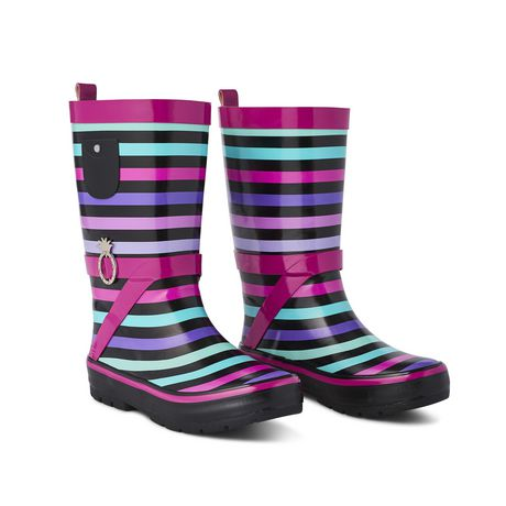 Weather Spirits Girls' Stripe Rubber Boot - image 2 of 4