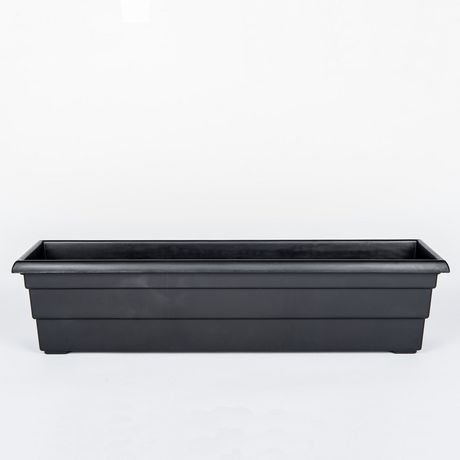"Integrated Plastics 24"" Rectangular Windowsill Black Planter by Integrated Plastics Inc"