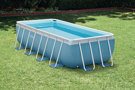 Intex 16ft x 8ft x 42in prism frame rectangular above ground pool set for Intex rectangular swimming pool