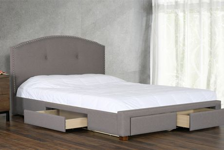 Primo International Armel Upholstered Bed with Storage   Walmart Canada