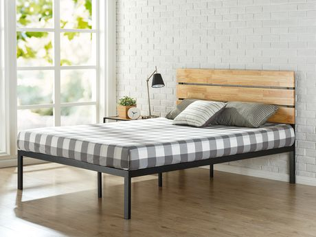 zinus sonoma metal u0026 wood platform bed