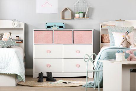 South Shore Sweet Piggy Commode 4 tiroirs avec paniers-Blanc et rose - image 2 de 9