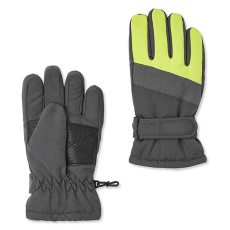 Dark grey puffer gloves with neon yellow fingers, made by George