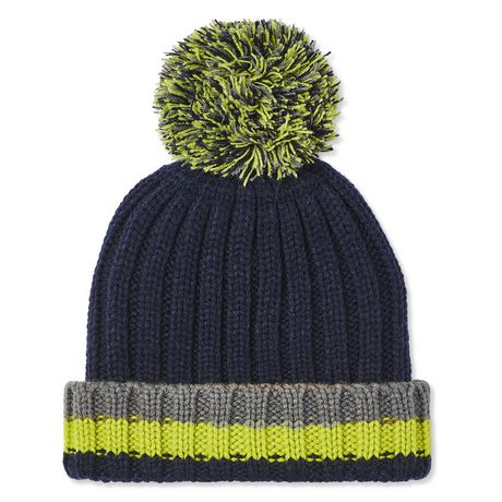 Multi-coloured cable knit toque with pompom