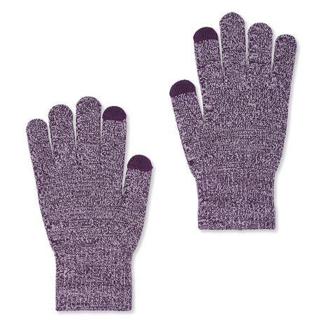 Gants tricotés bicolores gris avec doigts de textos, fabriqués par George