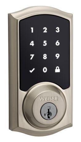 Pêne dormant électronique Weiser Smartcode 10 à entrée sans clé et à clavier, Nickel satiné - image 1 de 5