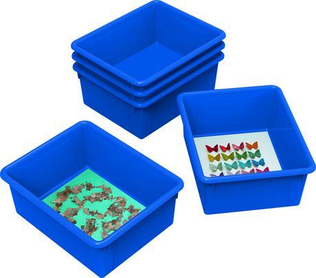 Storex bacs de rangement (plateaux), format lettre, 10 x 13 x 5 pouces, bleus, emballage de 5 - image 2 de 2
