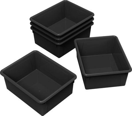 Storex bacs de rangement (plateaux), format lettre, 10 x 13 x 5 pouces, noirs, emballage de 5 - image 1 de 2