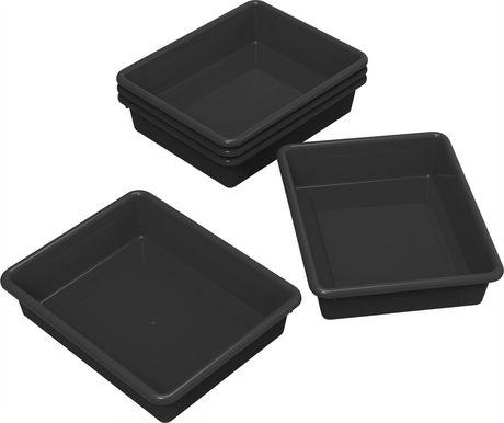 Storex plateaux de rangement, format lettre, 10 x 13 pouces, noirs, emballage de 5 - image 1 de 2