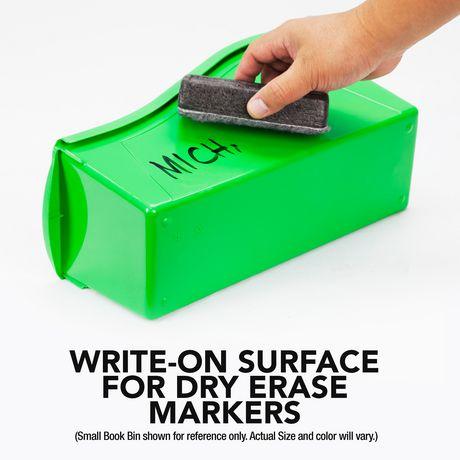 Storex Grands bacs pour livres, emballage de 5, noirs, support métallique inclus - image 5 de 5