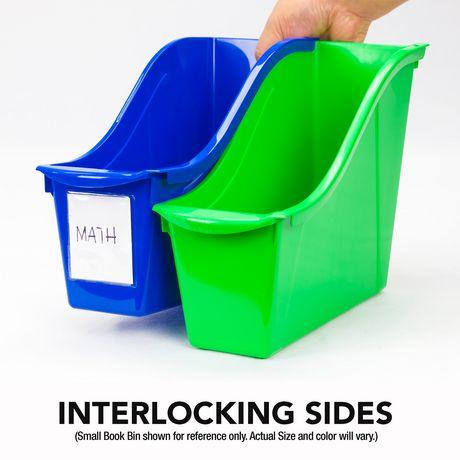 Storex Grands bacs pour livres, emballage de 5, noirs, support métallique inclus - image 4 de 5