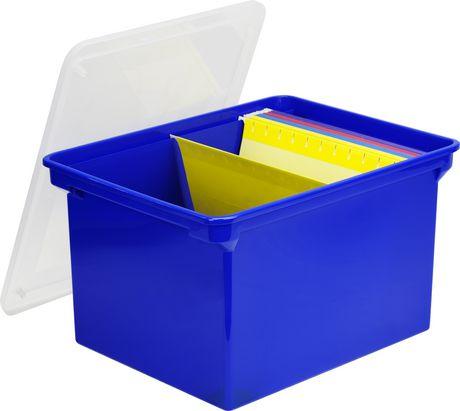 Storex-Bac de rangement pour dossiers format lettre/légal,Bleu - image 3 de 3