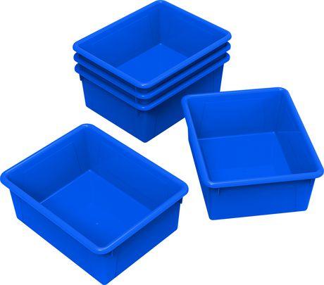 Storex bacs de rangement (plateaux), format lettre, 10 x 13 x 5 pouces, bleus, emballage de 5 - image 1 de 2