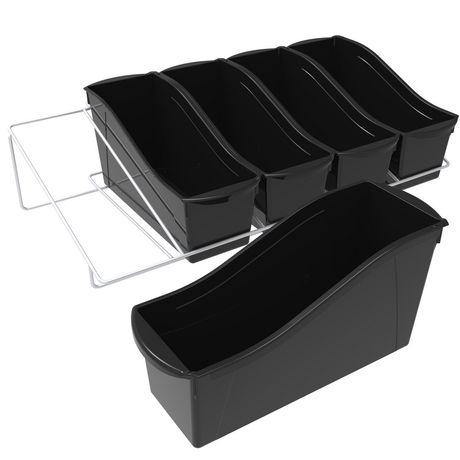 Storex Grands bacs pour livres, emballage de 5, noirs, support métallique inclus - image 1 de 5