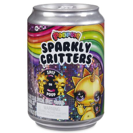 Silver can from Poopsie with packaging showing Sparkly Critters slime toy