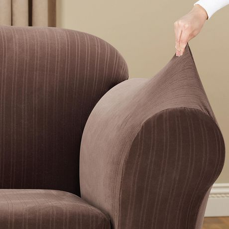Sure Fit Stretch Pinstripe Loveseat Slipcover - image 4 of 5
