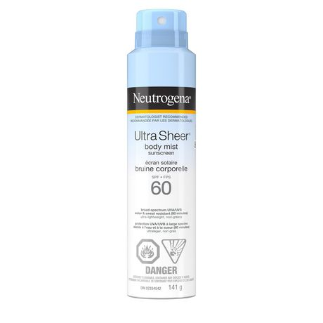 Neutrogena Sunscreen Spray SPF 60, Ultra Sheer Body Mist, Dermatologist-tested, Non-Comedogenic, Water Resistant, 141g - image 1 of 1