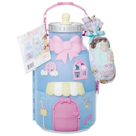 Blue baby house shaped like baby bottle with toy baby dolls and accessories inside, made by Baby Born