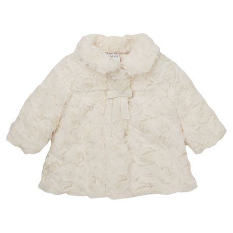 ac4fbf3d783f George British Design Baby Girls Ivory Faux Fur Coat