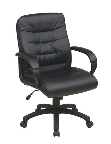 Beautiful Office Star Work Smart Mid Back Black Faux Leather Executive Chair With  Padded Arms | Walmart Canada